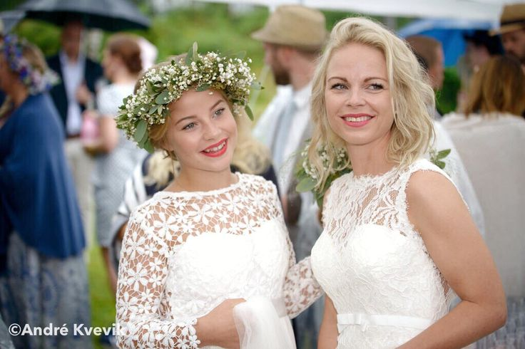 Bride and bridesmaid. Wedding at Hankø, Fredrikstad, Norway