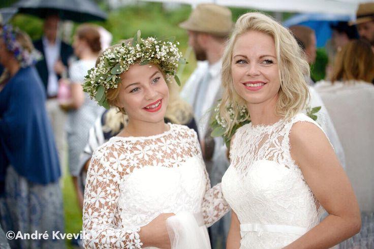 Bride and bridesmaid. Wedding at Hankø, Fredrikstad, Norway