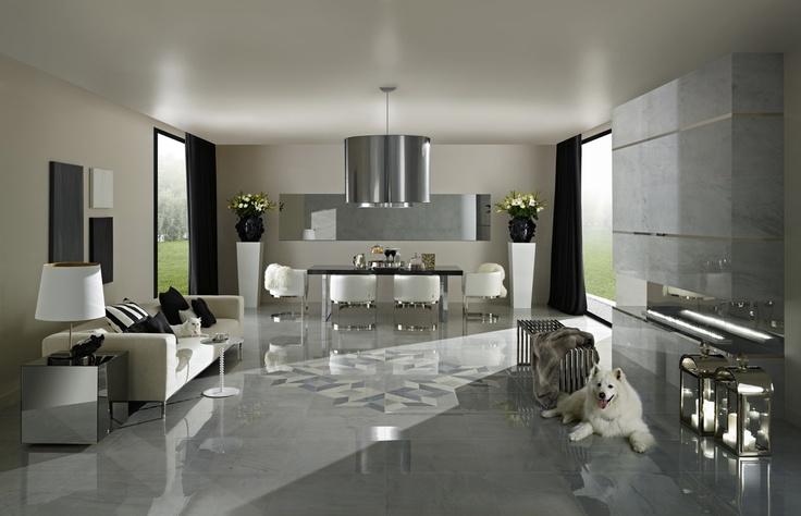 Floor tiles ETERNITY Light Grey Mirror and Rosette Light Grey