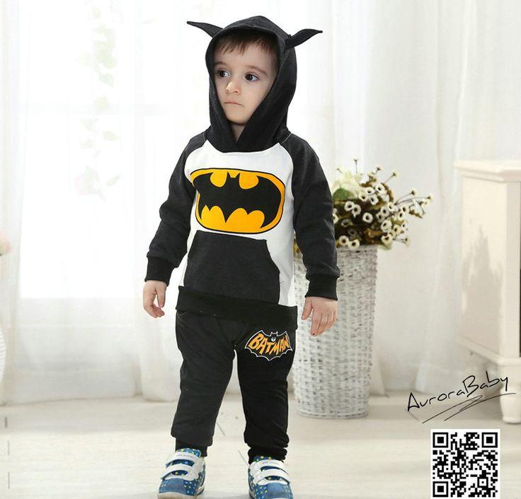 Kids Batman Clothing Set Include Coat And Pants Warm Clothes Baby Boys Girls Batman Clothes 2016Autumn Winter New Arrival 3color