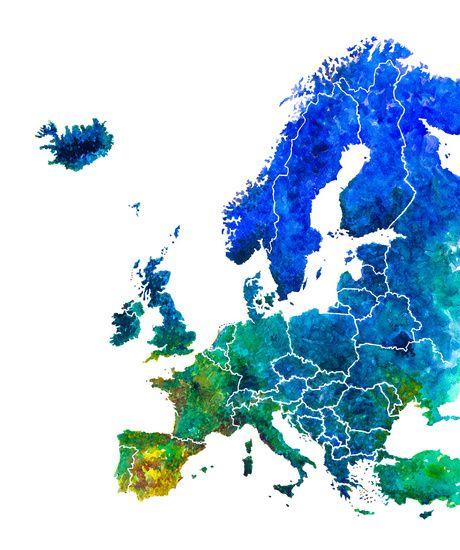 Kaart van Europa in Aquarel. Een moderne en contrastrijke eyecatcher voor woning- en kantoorinterieurs. Verkrijgbaar bij www.wereldkaarten.shop