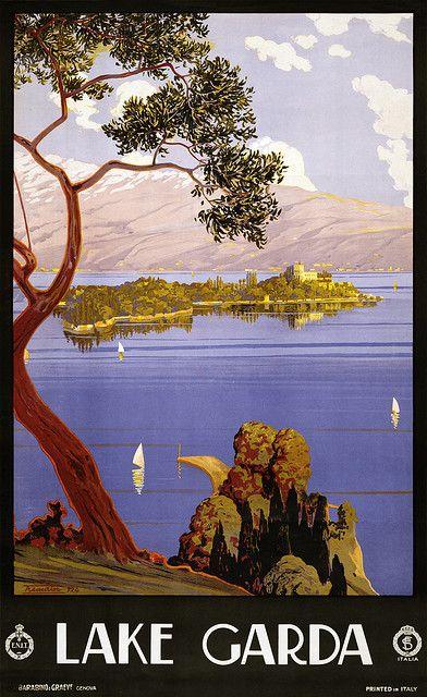 Lake Garda travelbeach  poster - www.varaldocosmetica.it/en (olive oil cosmetics for natural skincare)