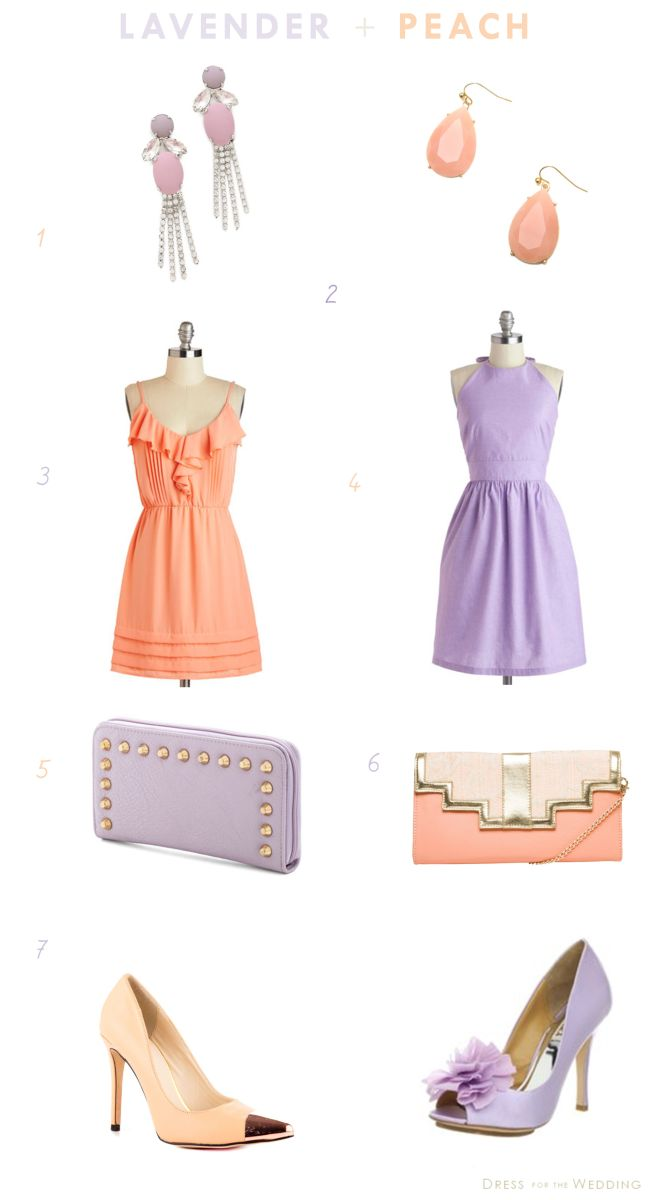 Lavender And Peach Dresses Accessories For A Wedding Pinterest Bridesmaid Bridal