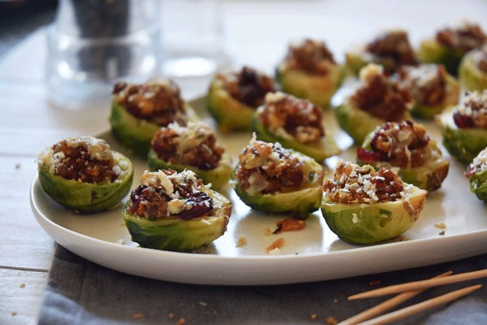 Sausage Stuffing Stuffed Brussels Sprouts!! Such a great appetizer or side and totally EASY!!