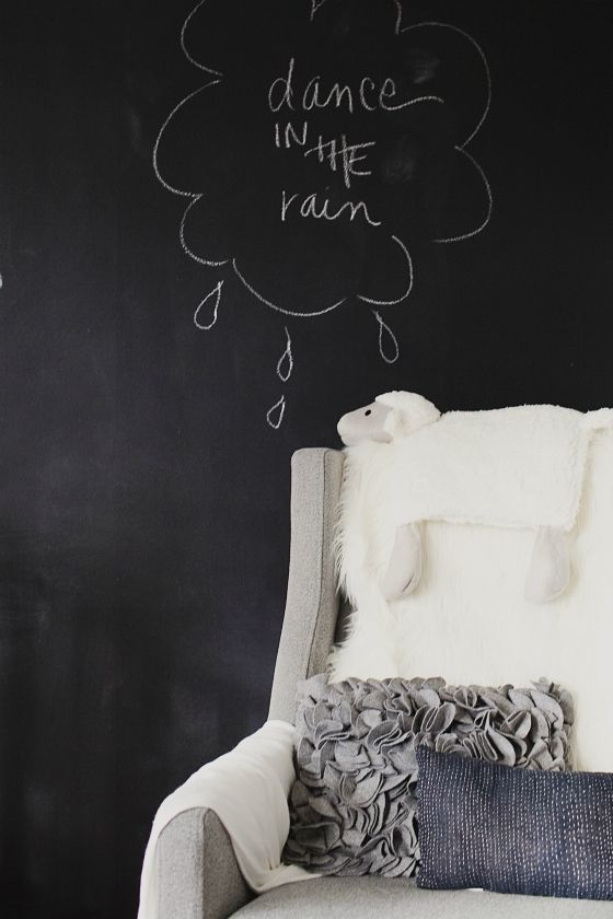 Chalkboard paint accent wall - so fun and whimsical in a nursery or child's room!: Chalkboards Paintings, Child Rooms, Nurseries Design, Christina Louck, Chalkboards Wall, Black Wall, Baby Nurseries, Accent Wall, Kids Rooms