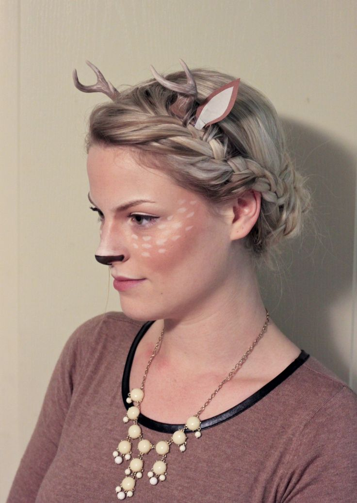 Diy deer halloween costume! Antlers made from polymer clay and glued onto a thin headband and hidden under a french braid. Brown dress, dark brown tights, black flats