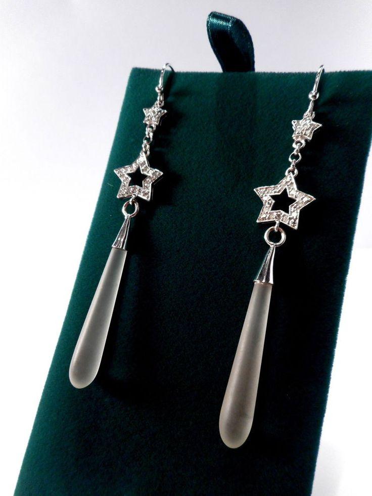 9CT WHITE GOLD DIAMOND STAR LONG DROP EARRINGS