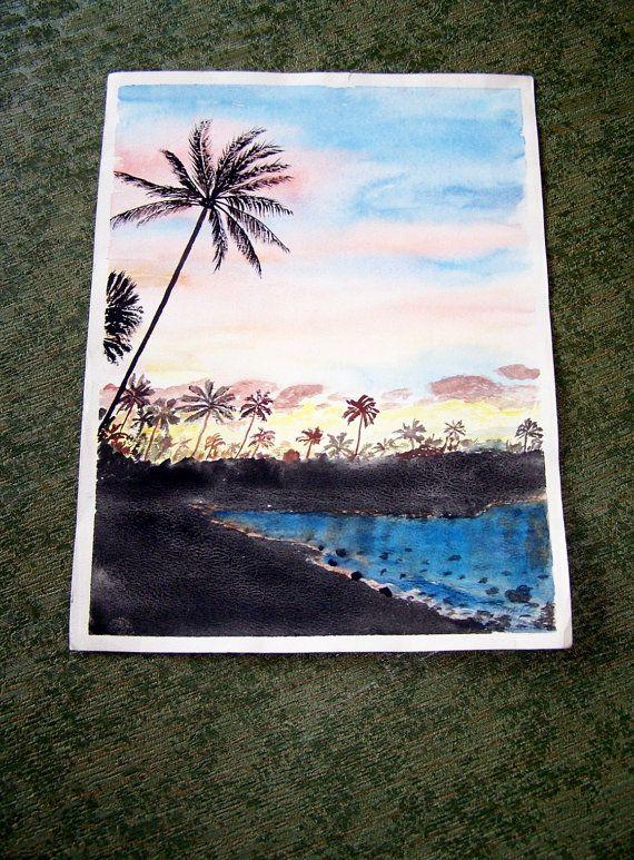 1979 Hawaiian Watercolor signed MyrtleFREE by Artdecogirlshop, $24.95