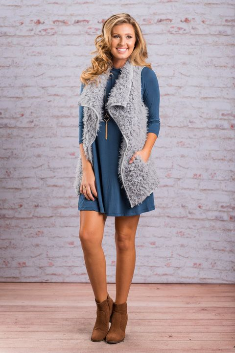 """""""For The Fur-st Time Vest, Gray"""" You have love this vest in other color but for the fur-st time let us present it in gray! The super soft, oh-so cozy material and chic color will have you wearing this faux fur vest all the time!  #newarrivals #shopthemint"""