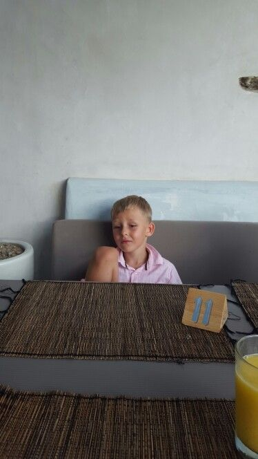 Thinking of every thing,  My son at Ciao Bella restaurant