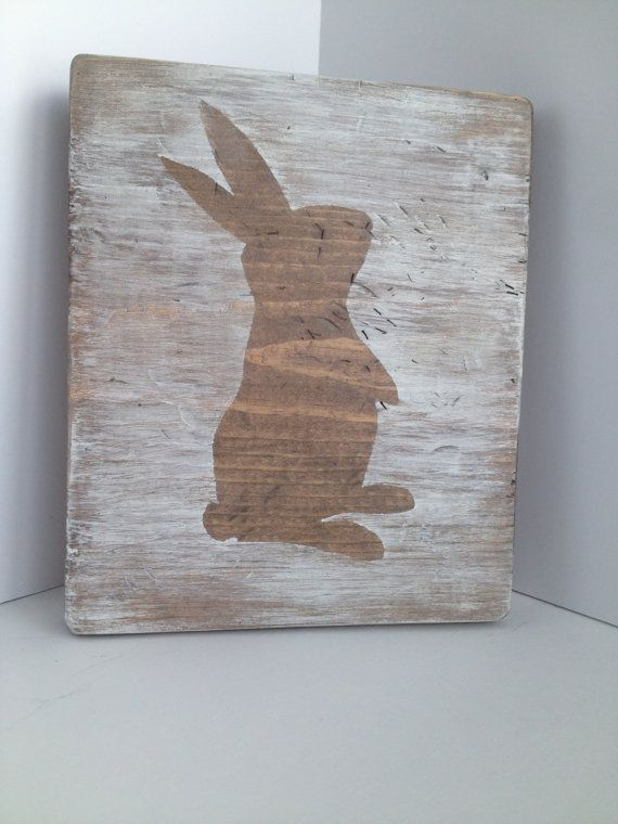 Bunny Silhouette Sign Shabby Chic Easter by FarmhouseHeart on Etsy, $18.00