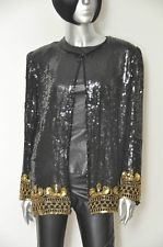 Vintage Black and Gold Sequin Jacket XL Beaded Blazer Party Blouse 100% Silk