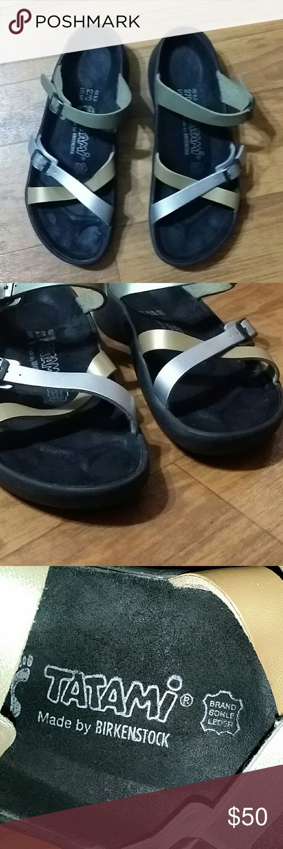 TATAMI by BIRKENSTOCK   sandals Sandals with 3 straps, two of them have adjustable buckles.  Strap colors are gold, silver and olive green.  Ladies size 11/men's size 9 In great used condition. See pictures Birkenstock Shoes Sandals