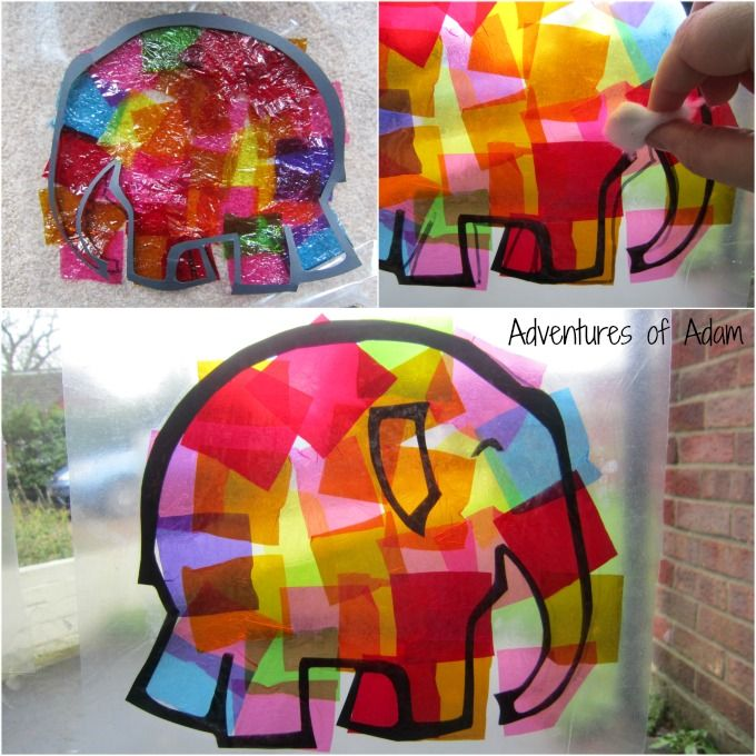 "Elmer The Elephant toddler craft This craft is great to go along with the story ""Elmer the Elephant"". In this craft the students are able to make a elephant window art. First the teacher traces the shape of an elephant onto the contact paper, and then students stick tissue paper to the sticky side. Then they can hang it in the mirror for a gorgeous window art!"