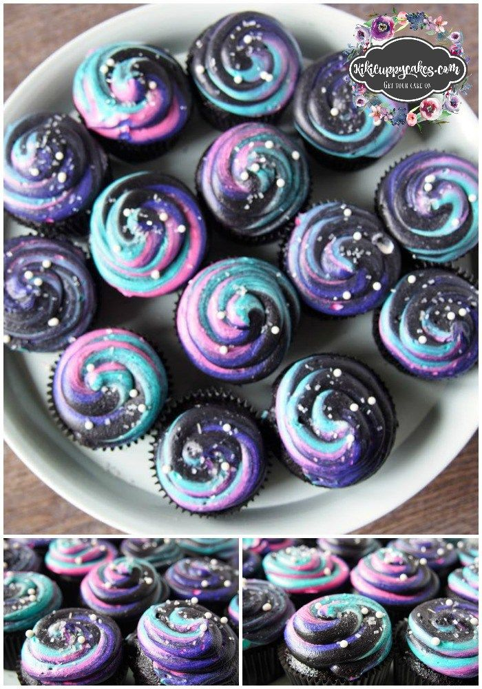 Black Velvet Cupcakes with Galaxy Frosting