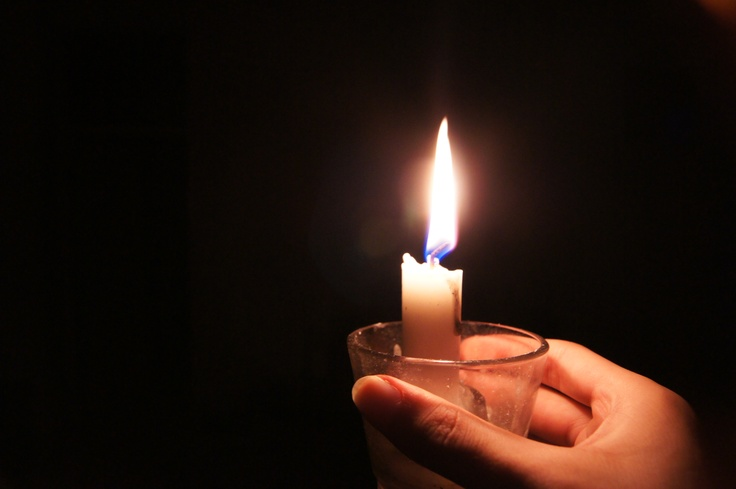 Lit candle during a blackout
