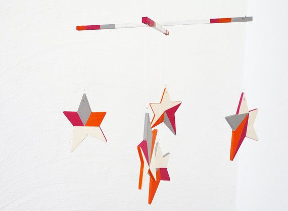 Neon star mobile in bright orange pink & grey with by LaNiqueHOME, €50.00