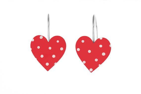 Red heart earrings with dainty white polka dots. The perfect statement earrings, these enameled lipstick red hearts and bright white polka dots are enameled with attention to detail on a pristine stainless steel base.     Created with a quirky and eclectic artisan design and a touch of retro vintage feel. These earrings are wonderful for fun, affectionate females with a passion for people and life. A beautiful gift to make someone special smile.    The hearts are 0.4 inches (10 mm) high. Ear…