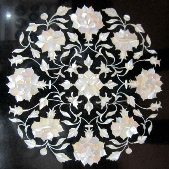 An Italian Pietra Dura Marble Inlaid Table Top Mother Of