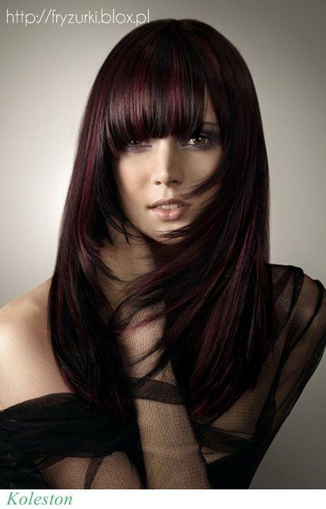 Fryzury Długie Włosy Grzywka Hairstyle In 2019 Hair Color Purple