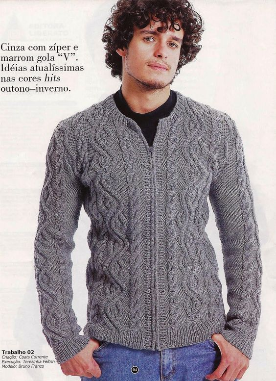 Tricot como Terapia e Prazer: Casaco/Blusa masculina com zíper