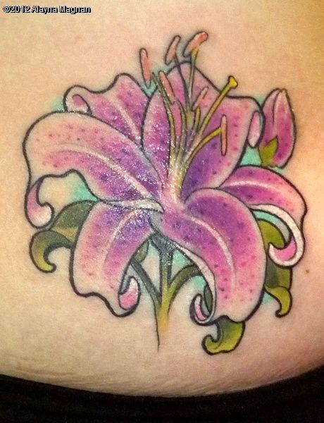 stargazer, lily, lillies, pink, cover up, tattoo