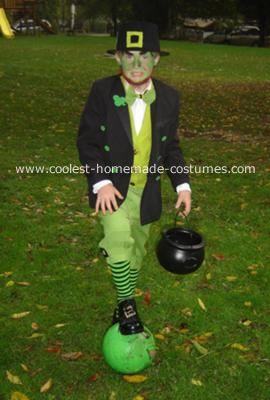 Scary Leprechaun Costume: This Leprechaun costume was made out of old clothing and junk we found around the house. We recycled some parts from previous Halloween costumes, such