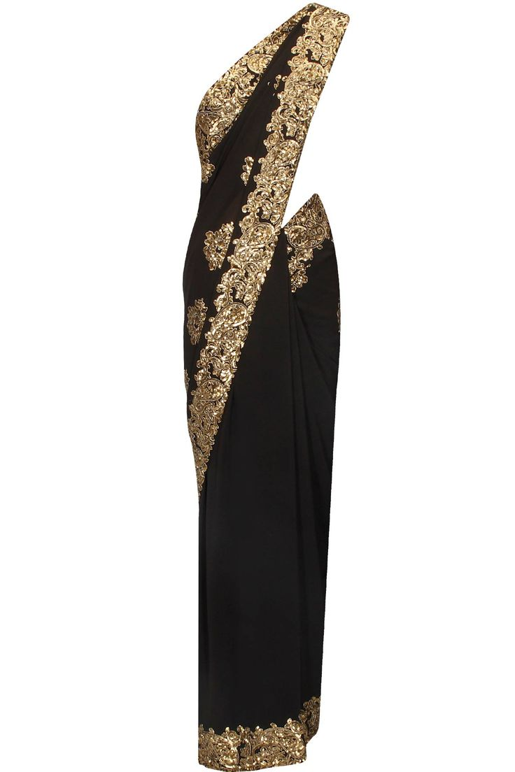 Black sequins embellished saree available only at Pernia's Pop Up Shop.