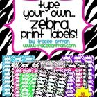 Zebra Labels You Can Customize - Avery 5160 (30 labels) $ (Also available in Avery 5163 - 10 labels/frames)
