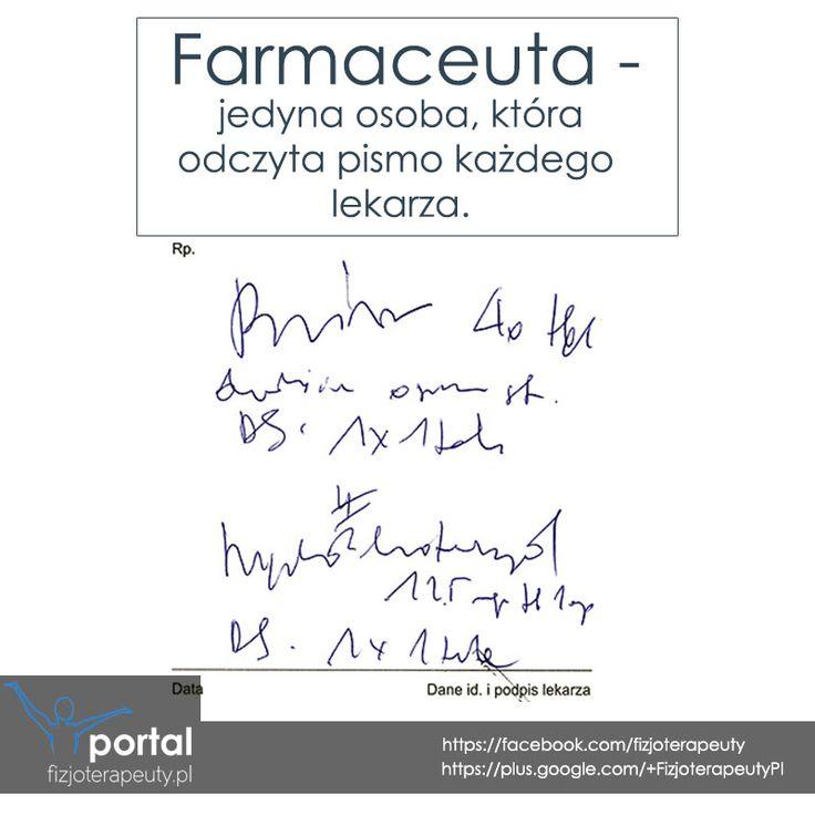 Farmaceuta - jedyna, odpowiednio przeszkolona jednostka czytająca pismo lekarskie :) #farmaceuta #humor #zdrowie #fizjoterapia #rehabilitacja