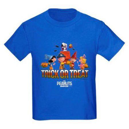 CafePress The Peanuts Movie - Trick or Treat Kids' Dark T-Shirt, Blue