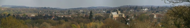 Panorama of Romsey Town, Hampshire from Green Hill