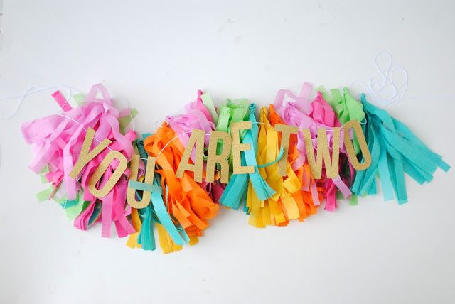 party diy: colorful fringe tassel garland
