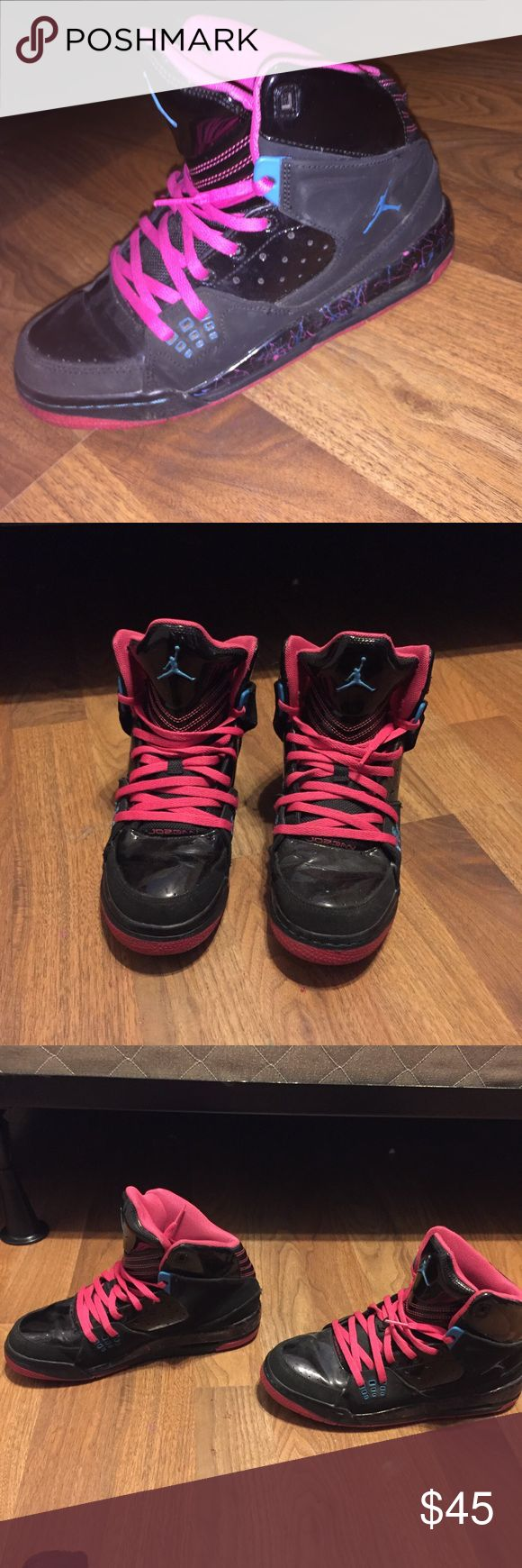 PINK AND BLACK JORDAN BASKETBALL SNEAKERS pink and black jordan sneakers with splatter paint design. only worn a few times. in great condition. size 6 Air Jordan Shoes Athletic Shoes