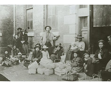Selling baskets on market day, Halifax, ca. 1890