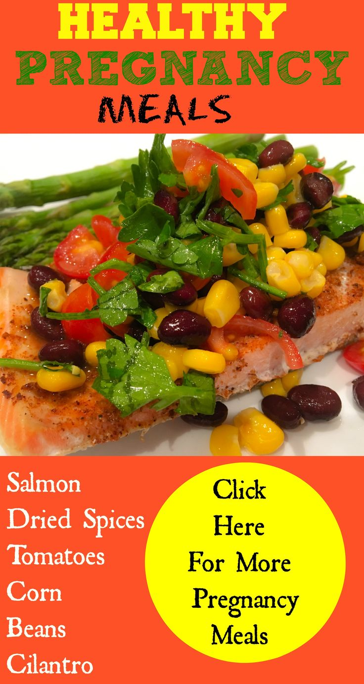 Spices on the salmon and bake.  Mix the rest of ingredients and serve over salmon. So important to get good nutrients in during pregnancy. Here is a complete pregnancy diet to help not gain a lot of weight and have a healthy pregnancy and baby. tons of delicious and healthy recipes in this pregnancy diet.
