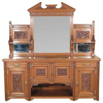 Antique English 7Ft Solid Oak Victorian Buffet Sideboard Server w/ Mirrors traditional-buffets-and-sideboardsListed on Houzz for $7,848