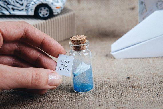 Aeroplano origami mensaje en una botella de aventura espera origami pequeño plano viajeros lindo regalo para el pequeño avión de amigos en una botella