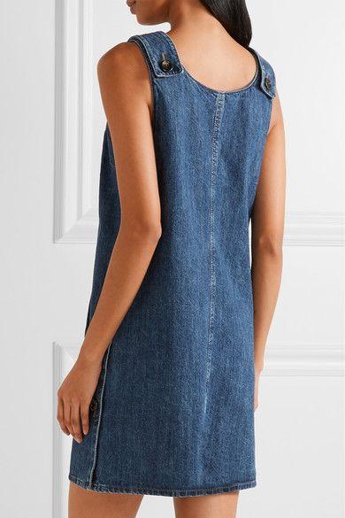 Miu Miu - Appliquéd Denim Mini Dress - Mid denim - IT38