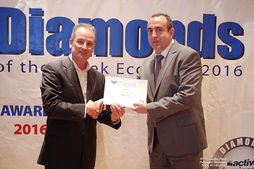 """ISOMAT S.A. received the """"Diamonds Of The Greek Economy 2016"""" award by Active Business Publishing, during a glorious ceremony that took place at the Grande Bretagne Athens hotel, on Wednesday June 29 2016."""