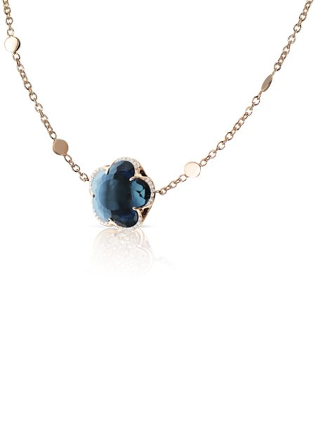 Pasquale Bruni - Rose gold necklace with blue london topaz and diamonds