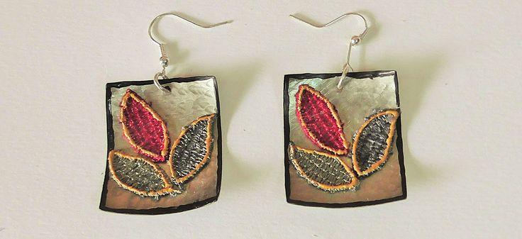 Handmade alpaca earrings.