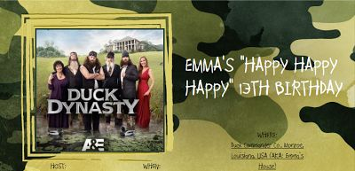 Creativi-Teen: Duck Dynasty Birthday Party!  Great ideas for a duck dynasty party...lots of games etc.