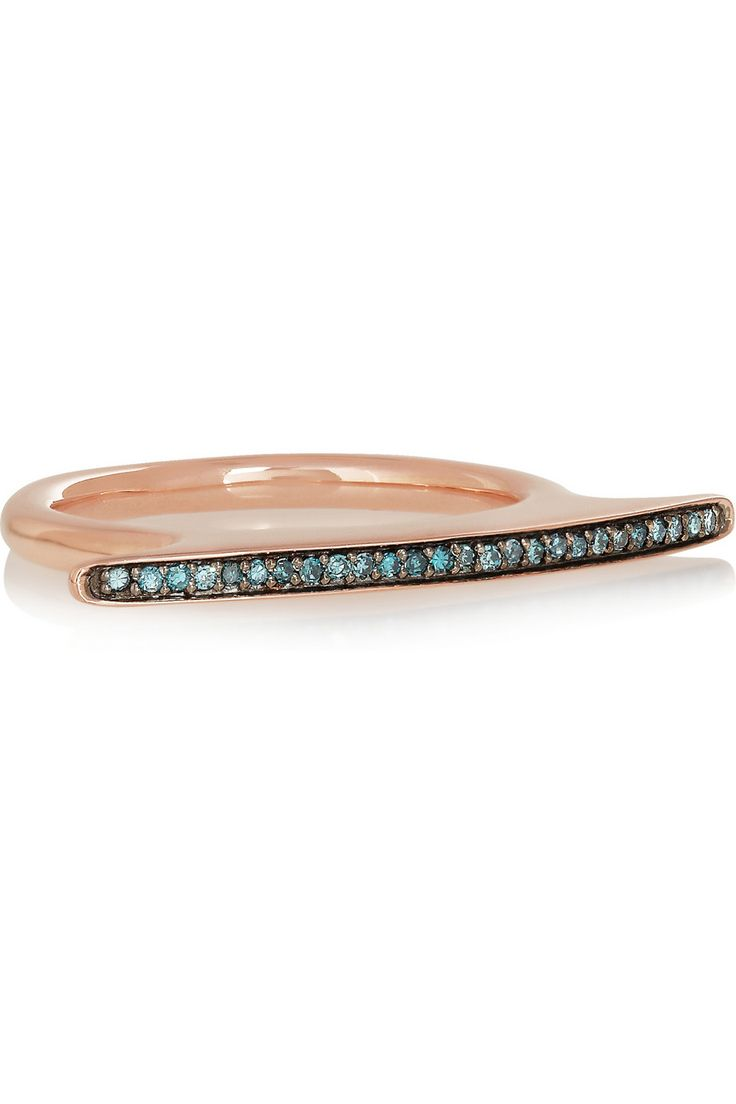 Monica Vinader | Rose gold-plated diamond ring | NET-A-PORTER.COM