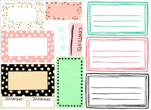 Several styles of free printable Designer Labels