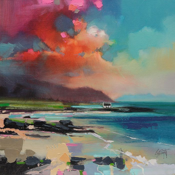 Scott Naismith : Rhum from South Uist Acrylic on canvas Canvas size 500mm x 500mm approx
