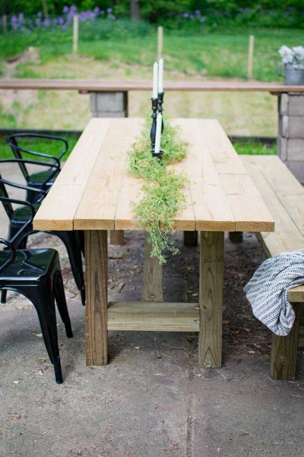 Make Your Own Outdoor Farmhouse Patio Table Perfect For