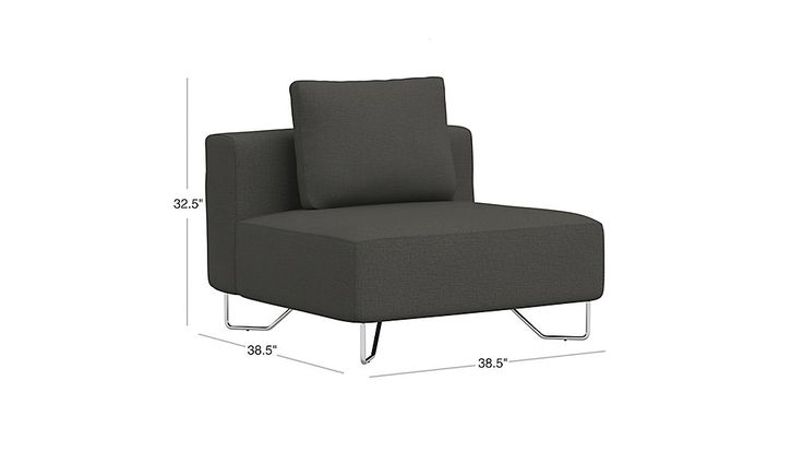Image with dimension for lotus grey armless chair