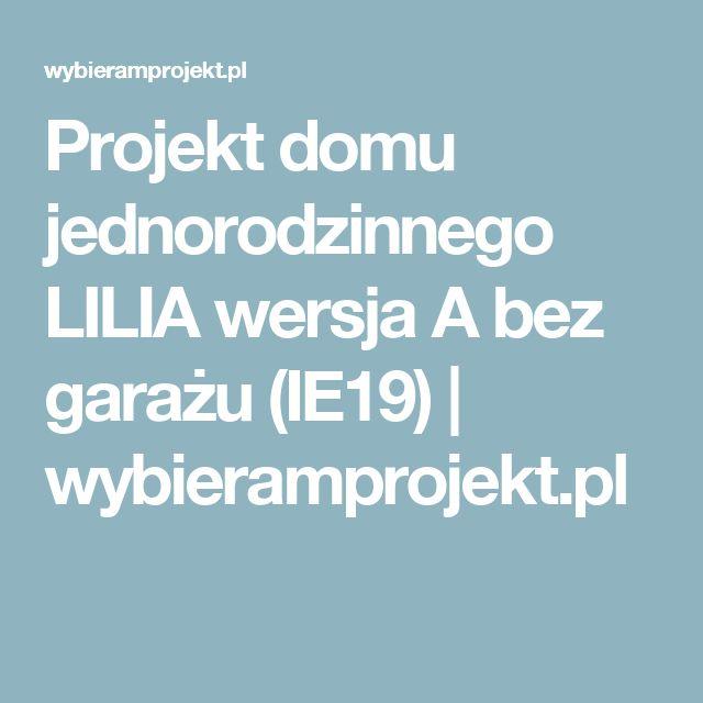 Projekt domu jednorodzinnego LILIA wersja A bez garażu (IE19)   wybieramprojekt.pl