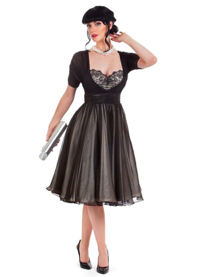 Black Chiffon over Champagne Satin Full Skirt 50s Inspired Party Dress #50sStyleDress #PartyDresses